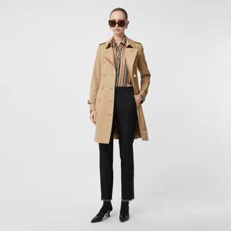 Burberry Button Detail Cotton Gabardine Trench Coat