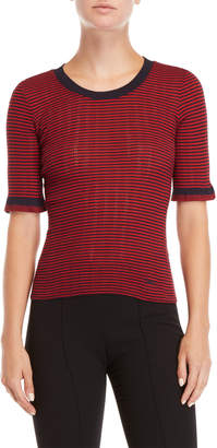 Sonia Rykiel Sonia By Striped Elbow Sleeve Knit Top