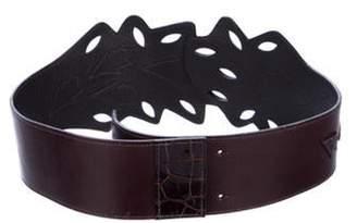 Oscar de la Renta Leather Laser-Cut Belt Leather Laser-Cut Belt
