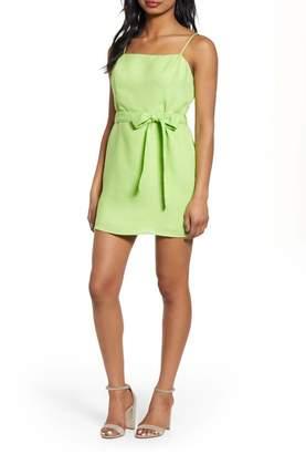J.o.a. Tie Front Cotton & Linen Minidress