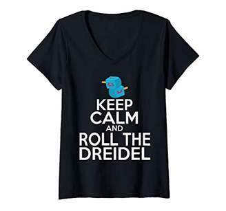 Womens Keep Calm and Roll the Dreidel Hanukkah Gift V-Neck T-Shirt