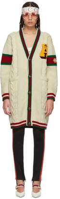 Gucci White Wool Guccy Tiger Cardigan