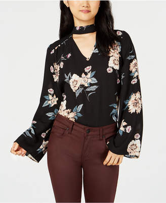 Hippie Rose Juniors' Printed Choker Blouse