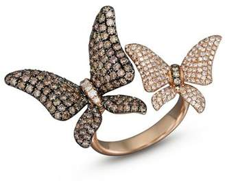 Bloomingdale's Brown and White Diamond Butterfly Statement Ring in 14K Rose Gold - 100% Exclusive