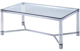 clear Furniture of America Burkett Contemporary Glass Coffee Table,