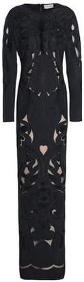 Temperley London Aliya Point D'esprit-Paneled Embroidered Crepe Gown