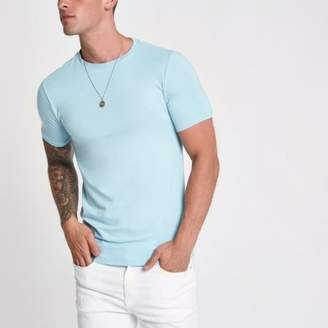 River Island Light blue muscle fit short sleeve T-shirt