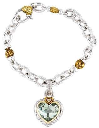 Judith Ripka Prasiolite & Diamond Heart Charm Bracelet