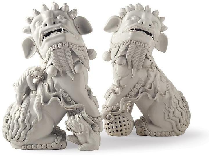 White Porcelain Foo Dogs