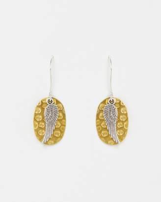 Angel Wing on Gold Drop Earrings