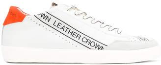 Leather Crown logo print sneakers