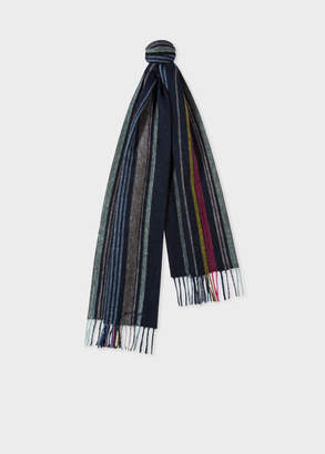 Paul Smith Men's Navy Multi-Coloured Stripe Lambswool Scarf
