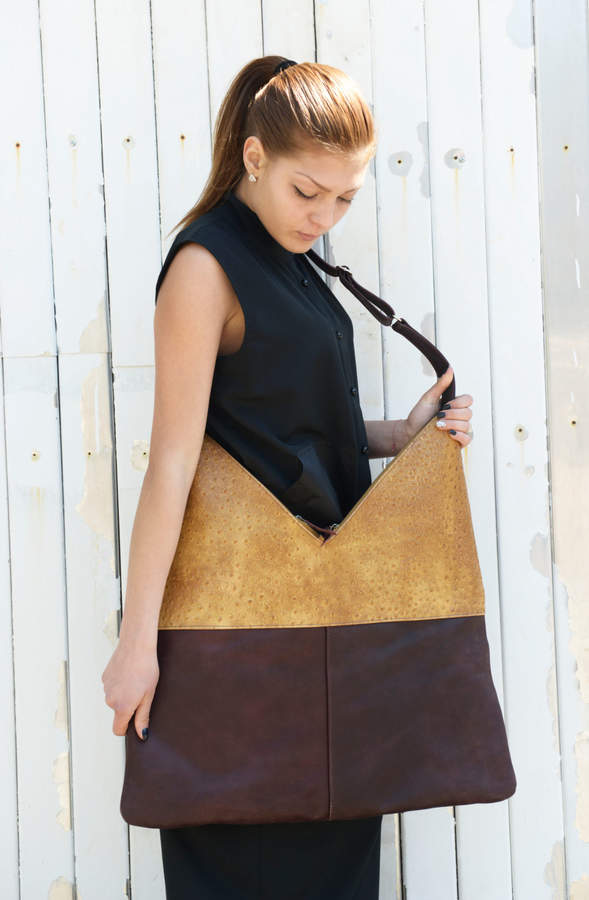 Etsy SALE Brown and Yellow Bag / Shoulder Woman Bag / Designer Bag / Brown Bag / Brown Shoulder Strap by
