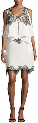 Kobi Halperin Fiora Cold-Shoulder Silk Popover Cocktail Dress