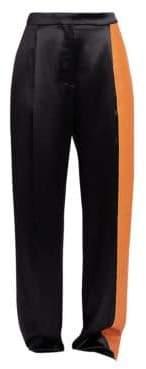 Loewe Satin & Leather Panel Trousers