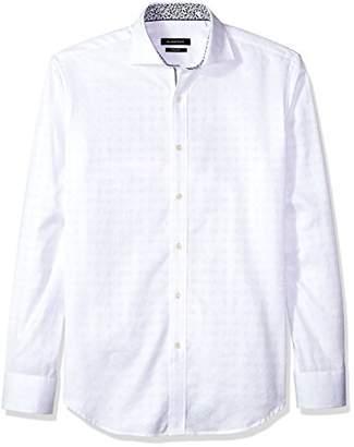 Bugatchi Men's Long Sleeve Shaped Fit Circle Jacquard Woven Shirt