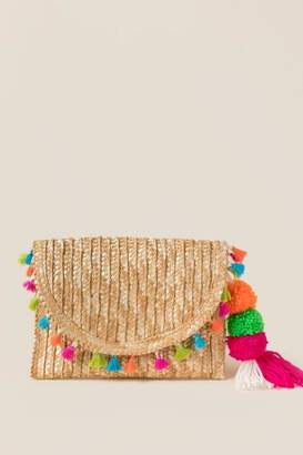 francesca's Corina Straw Tassel Clutch - Natural