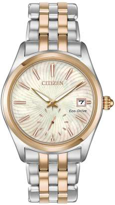 Citizen Eco-Drive Mother-of-Pearl Dial Two Tone Stainless Steel Bracelet Ladies Watch