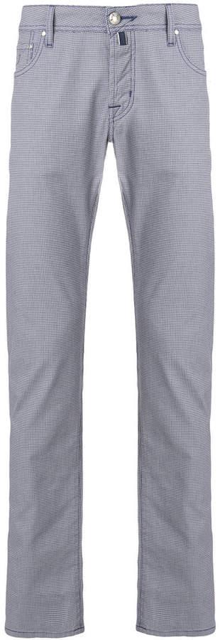 geometric print straight leg trousers