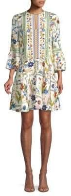 Tory Burch Daphne Bell-Sleeve Silk Dress