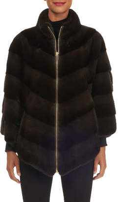 Norman Ambrose Diagonal-Quilted Mink Fur Zip Front Poncho