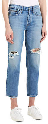 Calvin Klein Jeans Straight-Leg High-Rise Distressed Cropped Jeans
