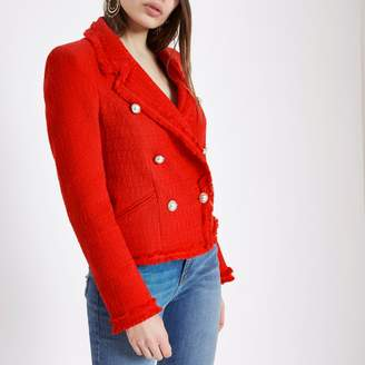 River Island Womens Red boucle double-breasted jacket