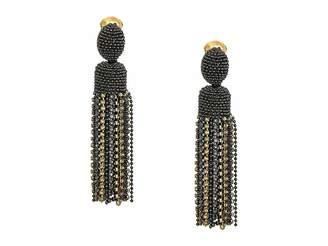 Oscar de la Renta Crystal Tassel Clip Earrings