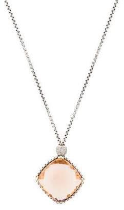 David Yurman Morganite & Diamond Cushion on Point Pendant Necklace