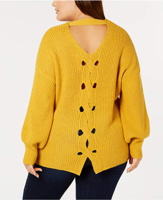 NY Collection Plus Size Back-Keyhole Cutout Sweater