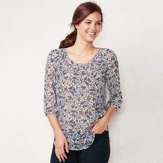 Lauren Conrad Women's Printed Chiffon Peasant Top
