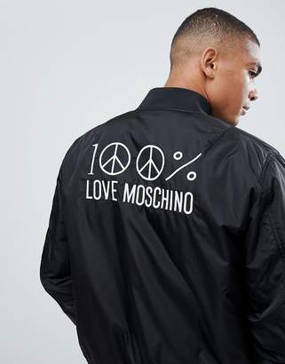 Love Moschino Back Embroidery Bomber Jacket