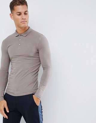 BEIGE Asos Design ASOS DESIGN muscle fit long sleeve polo in jersey in