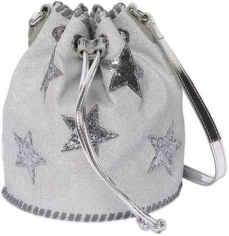Stella McCartney Glittered Faux Leather Bucket Bag