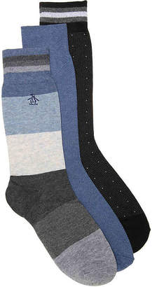 Original Penguin Chambray Stripe Crew Socks - 3 Pack - Men's