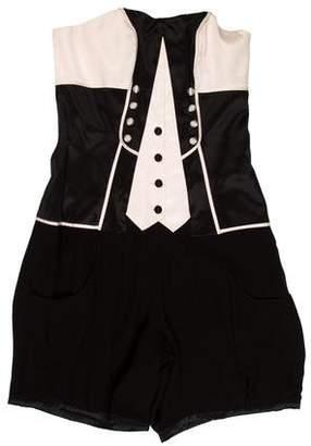 Temperley London Silk Tuxedo Romper