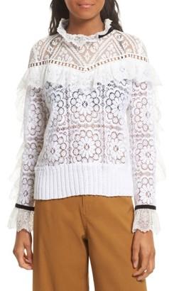 Women's Sea Ruffle Lace Sweatshirt $380 thestylecure.com