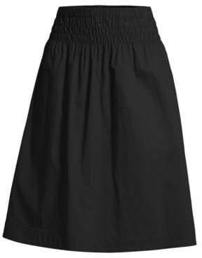 Donna Karan Smocked A-Line Midi Skirt