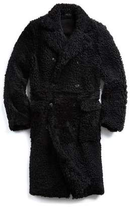 Todd Snyder Shearling Double Breasted Topcoat in Black