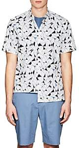 Theory MEN'S GEOMETRIC-PRINT COTTON POPLIN SHIRT-WHITE SIZE L