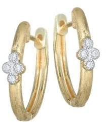 Jude Frances Provence Diamond& 18K Yellow Gold Hoop Earrings