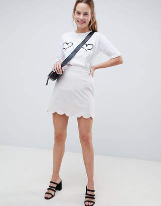 Asos (エイソス) - ASOS DESIGN a-line mini skirt with scallop hem