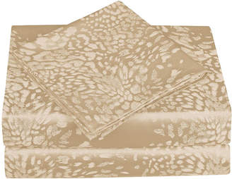 CATHAY HOME Cathay Home 300tc Leopard Jacquard Sheet Set
