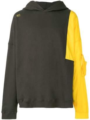 C2h4 colour block long hoodie