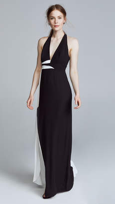 Halston V Neck Gown with Contrast Sash