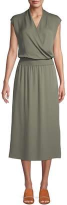 Theory V-Neck Silk Blouson Dress