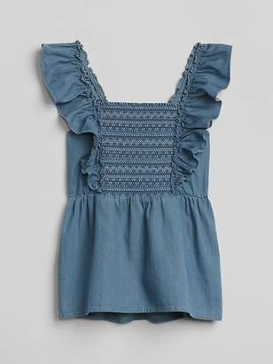 Gap Denim Smocked Ruffle Top