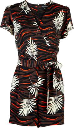 b4a428dff33 Dorothy Perkins Womens Chocolate And Orange Tiger Print Wrap Playsuit