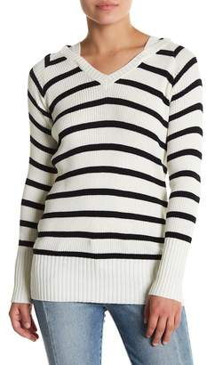 Chaser Stripe Ribbed Knit Pullover Hoodie