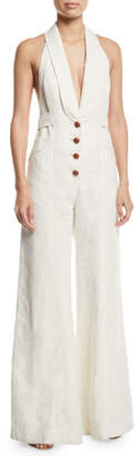 Zimmermann Corsage Tailored Wide-Leg Linen Jumpsuit